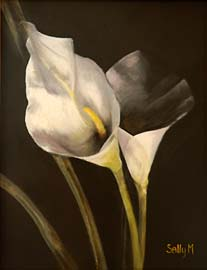 """paper lillies"" painting by sally martin"